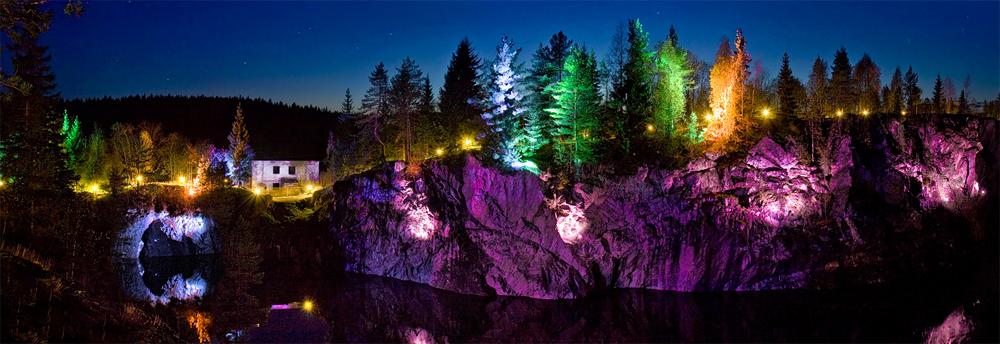 подсветка каньона рускеала фото