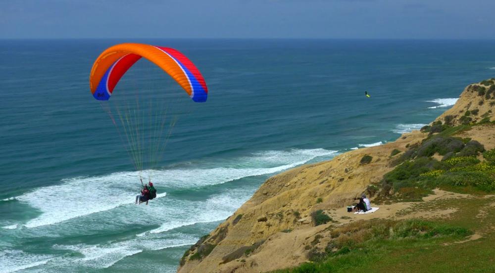 полеты с парашютом над морем