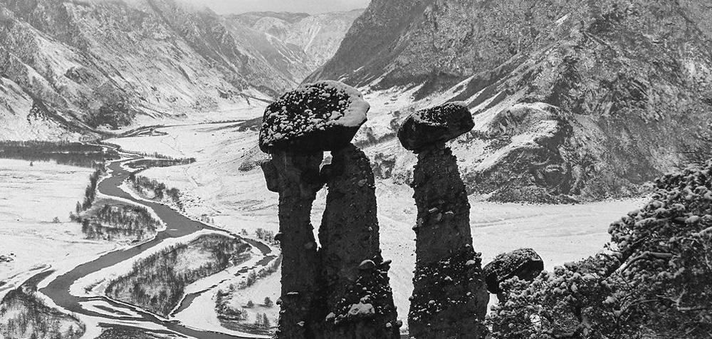 Каменные грибы в зимний период