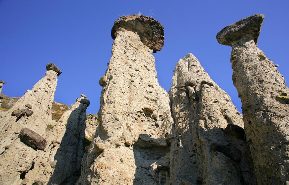 Вид снизу на каменные грибы