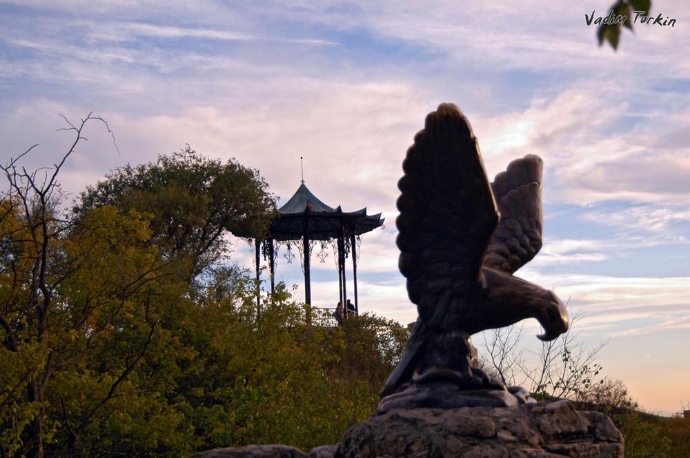 Орел на фоне Китайской беседки в Пятигорске