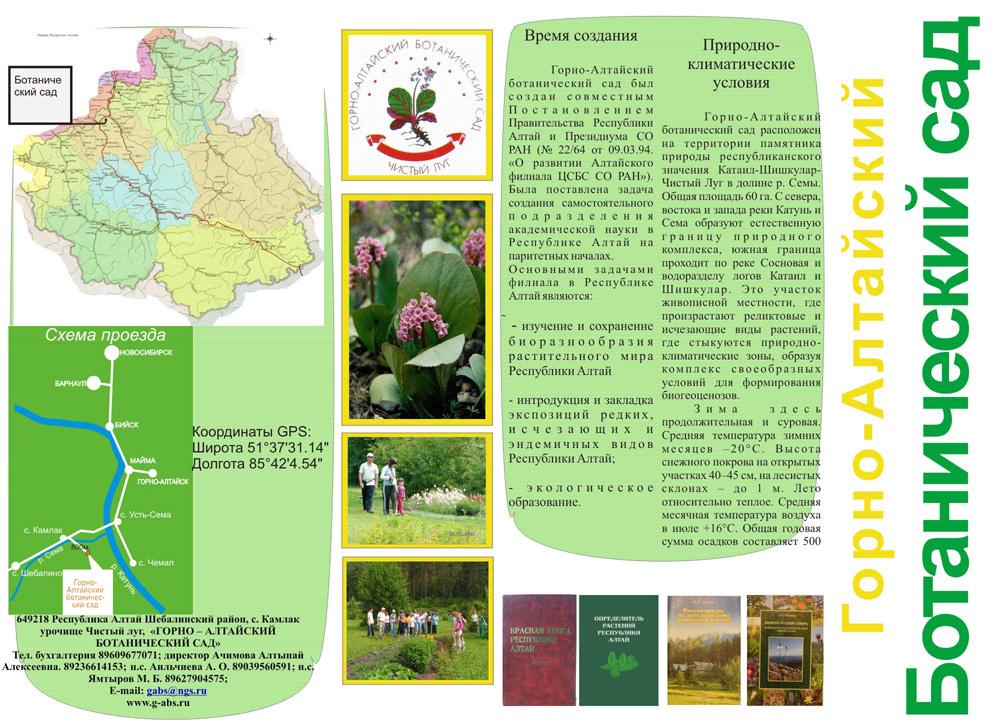 схема проезда и описание ботанического сада